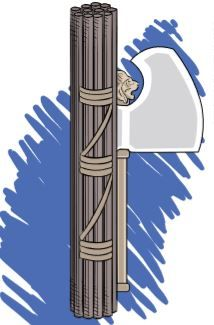 Um machado envolto por um feixe.