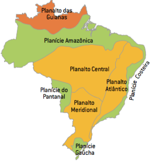 Mapa do relevo brasileiro segundo a classificação de Aroldo de Azevedo.