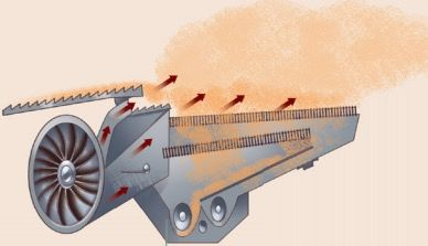 Máquina agrícola usada na separação por ventilação.