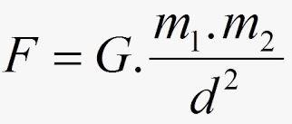 Fórmula da lei da gravitação universal.