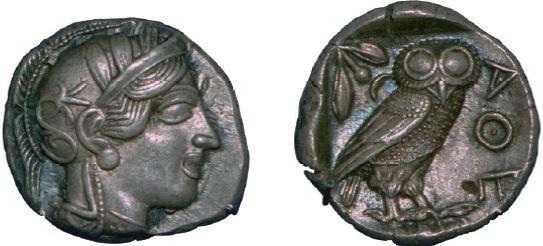Moeda utilizada em Atenas.