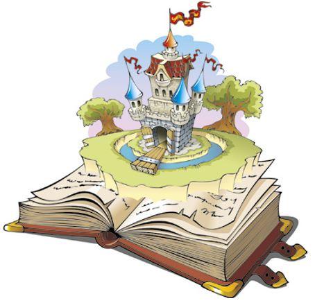 Um livro aberto com o desenho de um castelo de contos de fadas.
