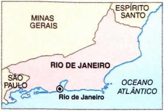 Mapa do estado do Rio de Janeiro.