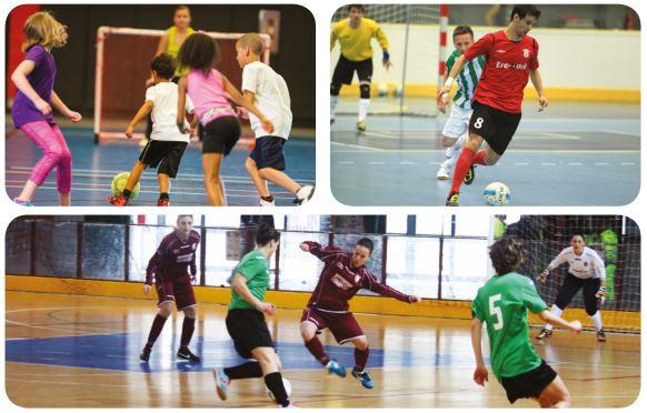 Três fotos de crianças jogando futsal.