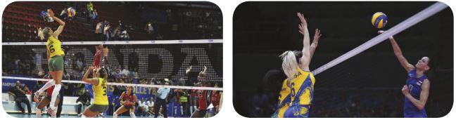 Fotos de jogadoras fazendo ataque e bloqueio.