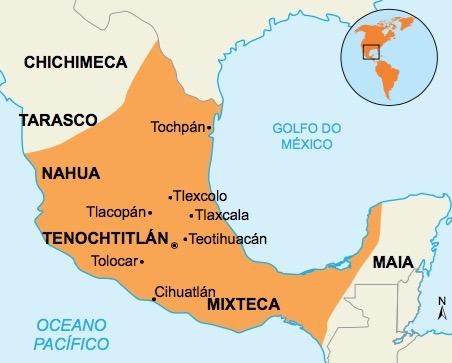 Mapa da localização dos astecas.