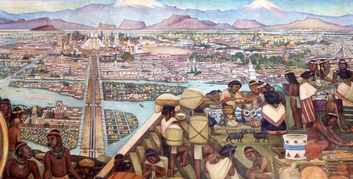 Pintura de como era a cidade asteca de Teotihuacán.
