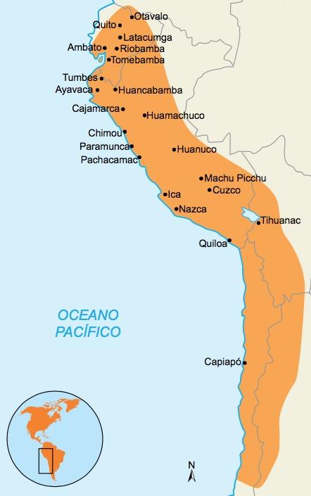 Mapa de onde localizava-se a civilização inca.