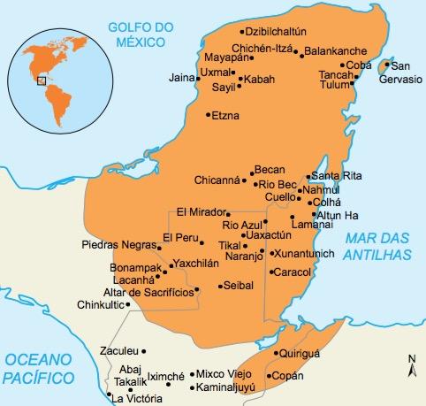 Mapa da localização dos maias.