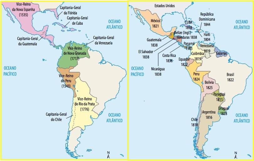 Mapas da América evidenciando o antes e o depois.