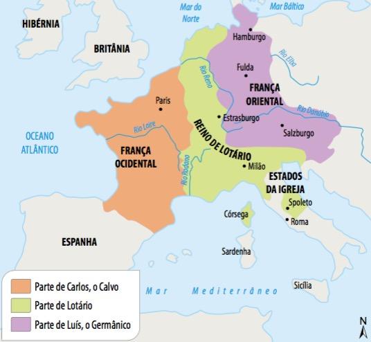 Mapa da divisão do Império Carolíngio.