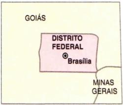 Mapa do Distrito Federal com a localização de Brasília.