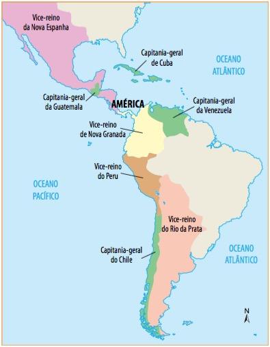 Mapa da América Espanhola com os vice-reinados e capitanias.