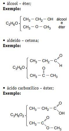 Exemplos de isomeria de função.