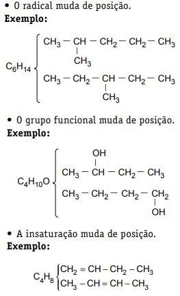Exemplos de isomeria de posição.