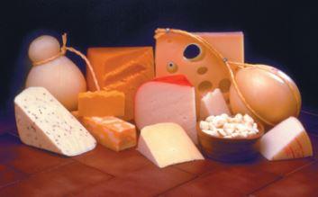 Imagem com diferentes tipos de queijos.