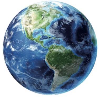 Representação da Terra vista do espaço por um satélite.
