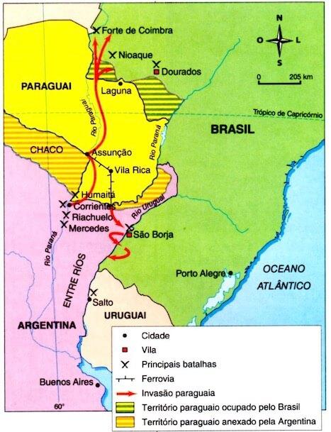 Mapa com as batalhas da Guerra do Paraguai.