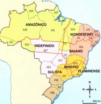 Mapa do Brasil com suas variações linguísticas.