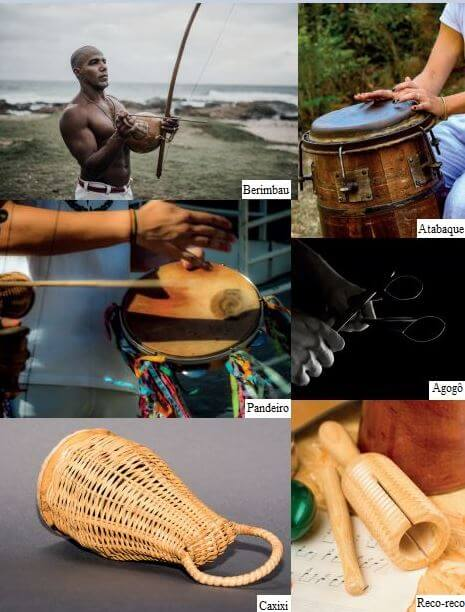 Imagens dos instrumentos da capoeira.