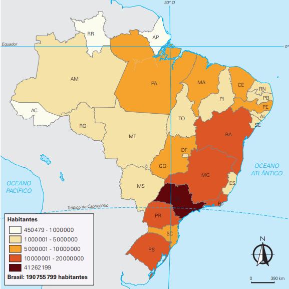 Mapa do Brasil com a distribuição da população nos estados.