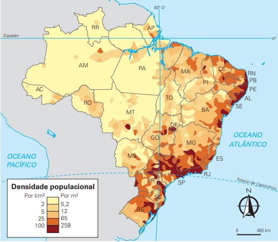 Mapa do Brasil com sua densidade populacional.