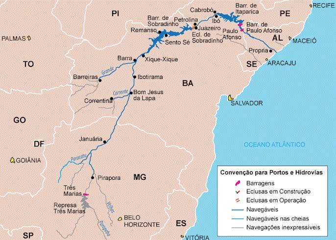 Mapa do Rio São Francisco.