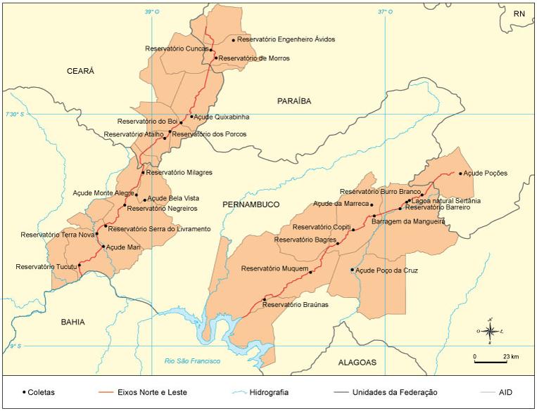 Mapa da transposição do rio São Francisco.