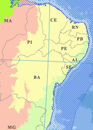 Mapa da caatinga.