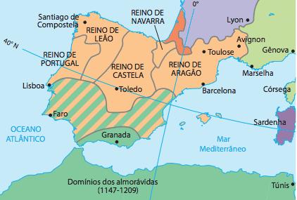 Mapa da Península Ibérica.