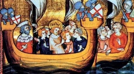 Quadro com embarcações em que uma delas leva o rei.