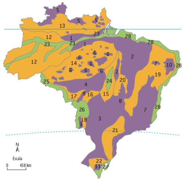Mapa do relevo brasileiro.