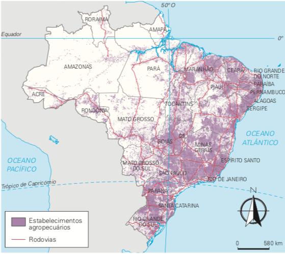 Mapa do Brasil destacando os principais estabelecimentos agropecuários.
