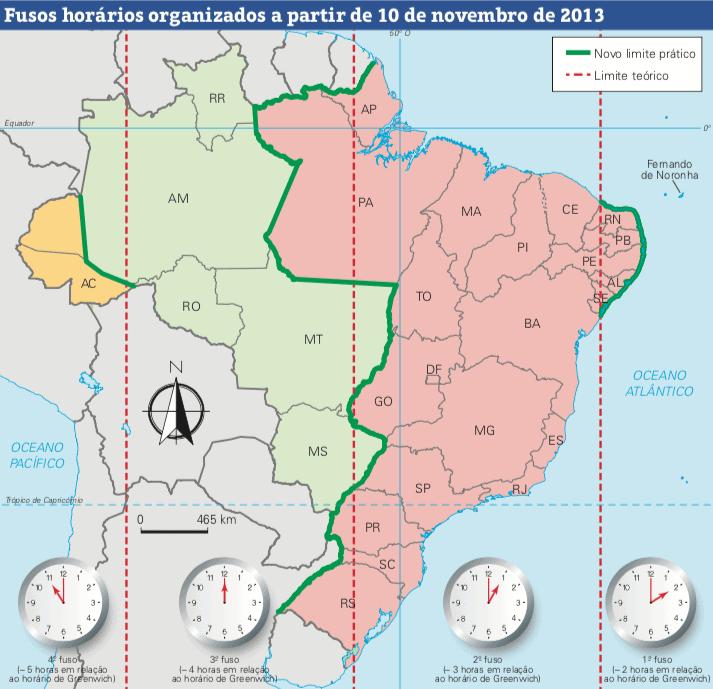 Mapa dos fusos horários do Brasil.