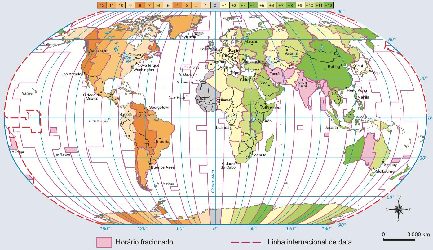 Mapa mundi com os fusos horários.