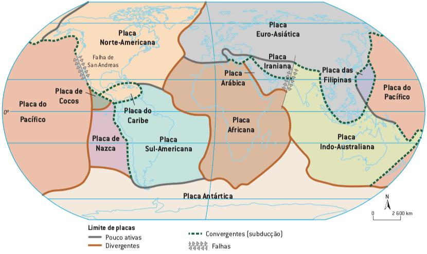 Mapa das principais placas tectônicas da Terra.