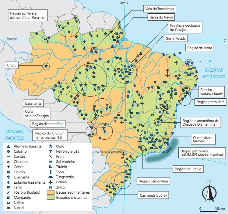 Mapa dos recursos minerais brasileiros