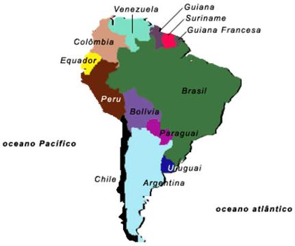 Mapa America do Sul