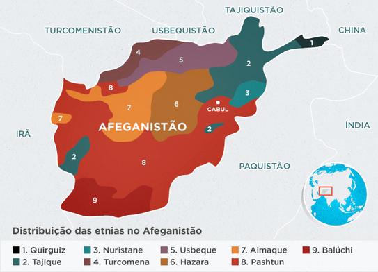 Mapa Afeganistão