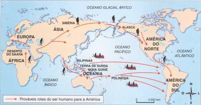 Mapa que recontitui a história dos primeiros povos da América