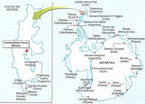 Mapa da base brasileira na Antártida