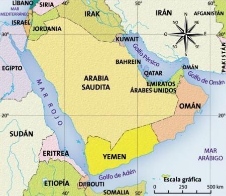 Mapa da Arábia