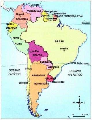 Mapa da América do Sul com o Brasil em destaque