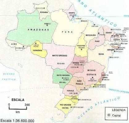 Mapa com escalas cartográficas