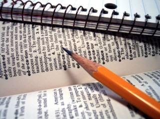 Caderno, lápis e livro de pesquisa.