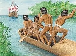 Índios visualizando a chegada de um navio espanhol