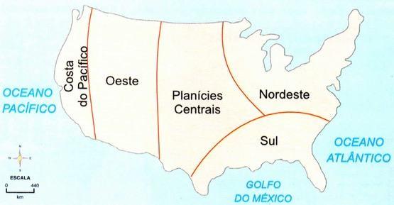 Mapa com as regiões geoeconômicas dos Estados Unidos
