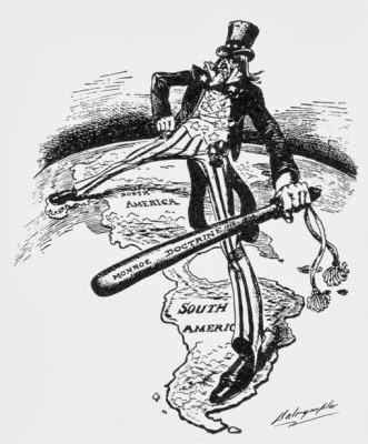 Charge que mostra Monroe sobre o mapa da América.