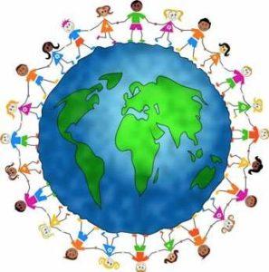 Pessoas de mãos dados ao redor do mundo - símbolo dos direitos humanos