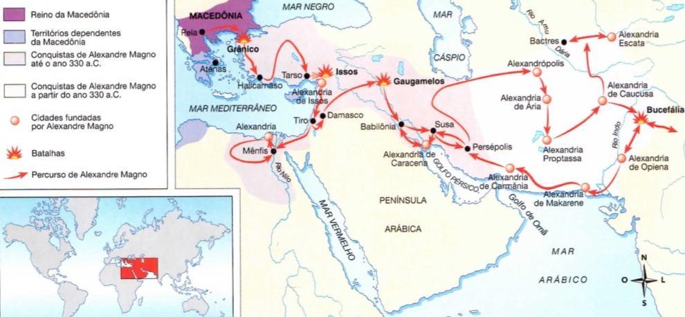 Mapa do império de Alexandre, o Grande.